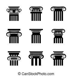 starobylý, sloupec, vektor, ikona