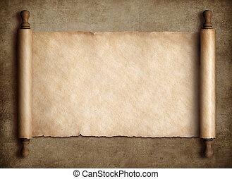 starobylý, svitek, pergamen, nad, dávný, noviny, grafické pozadí