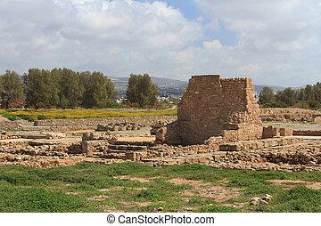 starobylý troska, paphos, park., archeologický, kypr