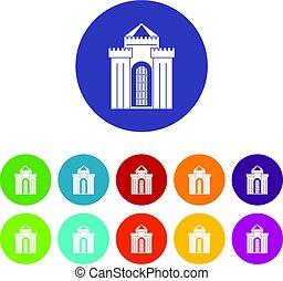 starobylý, věž, palác, ikona, dát, byt, vektor