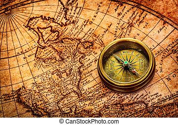 starobylý, vinobraní, map., lies, dosah, společnost