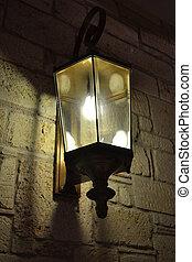 staromódní, ulice, elektrický svítilna