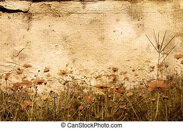 staromódní, umělecký, květ