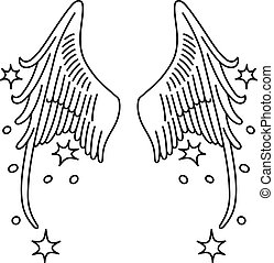 Starred angel wings set