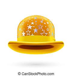 starred, jugador de bolos sombrero, amarillo