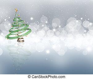 starry, boompje, kerstmis, achtergrond, lichten