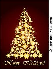 starry, boompje, kerstmis, goud