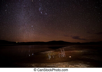 Starry Bright Night over the Lake Powell