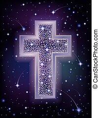 Starry Christian Cross holidays wallpaper, vector illustration