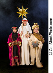 Starry christmas night with wisemen