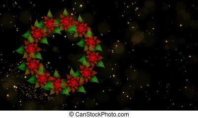 Starry Christmas wreath from red poinsettia with twinkling...