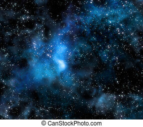 starry, diep, buitenste ruimte, nebula, en, melkweg