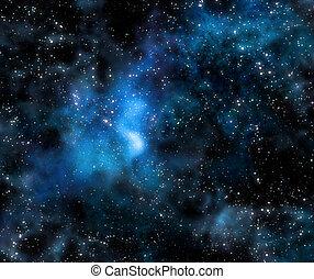 starry, djup, yttre rymden, nebulosa, och, galax