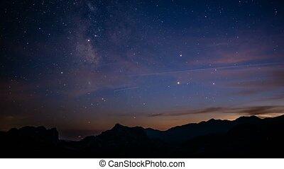 starry, FEHLER, Nacht,  -, weg, Zeit, Tag, milchig