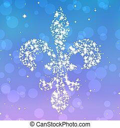 Starry fleur de lis silhouette on violet and blue background