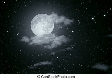 Starry full moon night