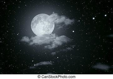Starry full moon night