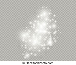 Starry glittering dust elements. Glowing light particles. Christmas abstract glitter decoration. Vector element isolated on a transparent background.