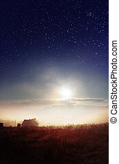 starry heavens over countryside