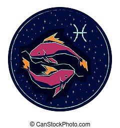 starry hemel, meldingsbord, achtergrond., nacht, pisces, zodiac