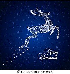 starry, hertje, kerstmis, bbackground
