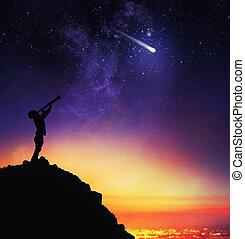 starry, kind, himmelsgewölbe, teleskop, beobachtet