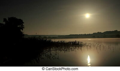Starry Moonlit night on the river Seversky Donets, Rostov...