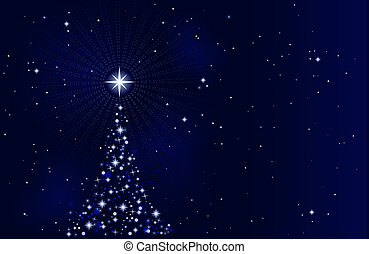 starry, nacht, boompje, kerstmis, vredig