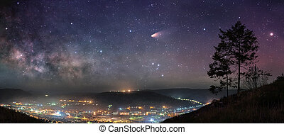 starry, nacht, panorama