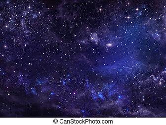 starry, natt himmel, djup, yttre rymden