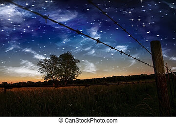 Farmers Fence - Starry Night and Farmers Fence and field