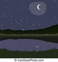 starry night at country landscape.eps