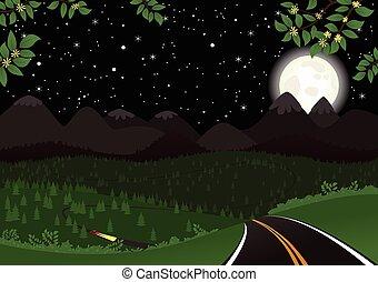 Starry night landscape.eps