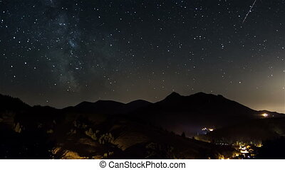 Starry night on countryside time lapse. Stars moving in sky with milky way galaxy