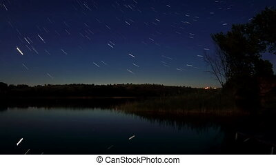 Starry night on the river Seversky Donets, Rostov Region,...