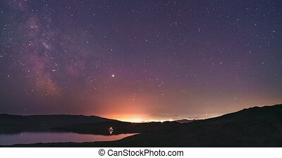 Starry night over the island Olkhon. Olkhon island, Lake Baikal, Irkutsk region, Russia. Timelaps