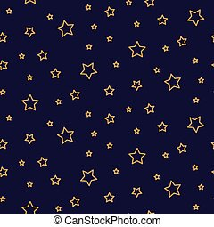 Starry night seamless pattern background blue and gold shapes in retro style.