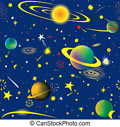 Starry night - Seamless vector illustration of fantasy...