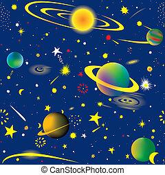 Starry night - Seamless vector illustration of fantasy...