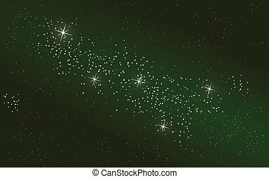 Starry night sky and Cassiopeia queen constellation