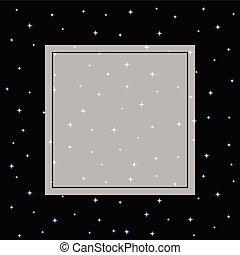 Starry Night Sky Banner on Black Background