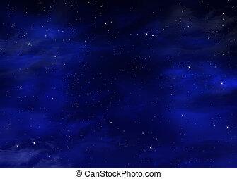 starry night sky, blue background
