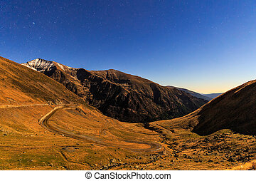 starry night sky in the Fagaras mountains