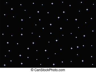 Starry Night Sky on Black Background