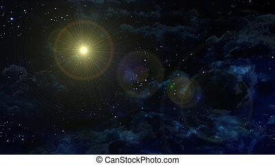 starry night star with solar planet