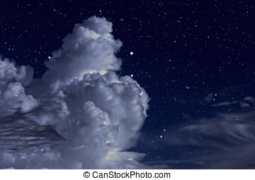 Starry night with clouds - Starry night sky with some strong...