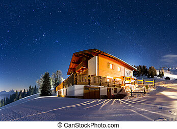 Starry panorama - Magnificent panorama of a house on the...
