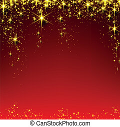 starry, rood, kerstmis, achtergrond.