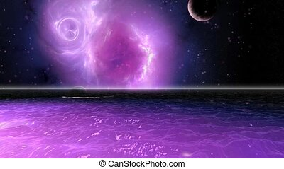 Starry sea - Reflecting star scene with planets and nebula...