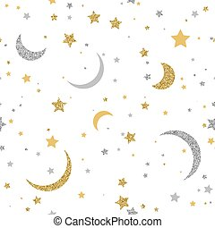 Starry seamless background with gold and silver dots